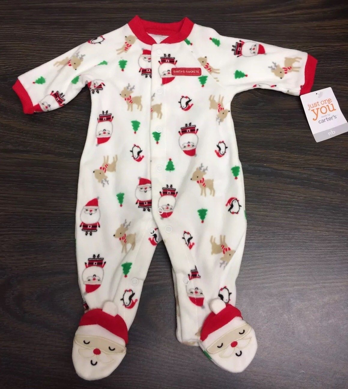 Little Me My First Christmas Pajamas Sleeper Footed Santa Claus Baby Boy or Girl