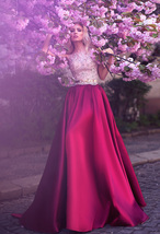 A-Line Jewel Rose Red Satin Prom/Evening/Wedding Dress with Lace - $179.00