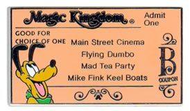 Disney Pluto Magic Kingdom B ticket  pin/pins