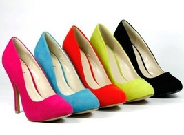 Velvet High Heel Classic Pump Pink Orange Turquoise Lime Qupid Tizzy-02  - $9.99