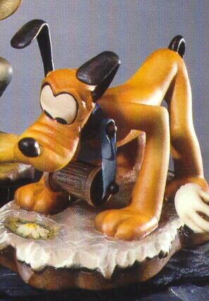 "Disney Pluto Woodcarving Anri 6"" rare Italy Figurine"
