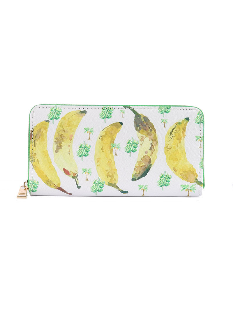 Banana Print Zip Around Wallet Clutch Purse