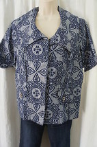 JM Collection Blouse Sz 6 Blue Mecca Medallion IX Short Sleeve Buttoned ... - $29.62
