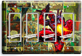 Deadpool Superhero Comics Book Page 4 Gfi Light Switch Wall Plate Room Art Decor - $19.79