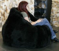 Leather Fur U and I Design Bean Bag and Cover, XXXL/9mm (Black) Free Shipping image 3