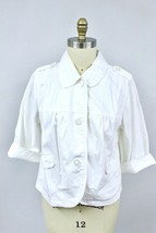 French Cuff Womens  1X White Button Up Jacket Lightweight Summer Casual ... - $28.99