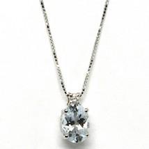 18K WHITE GOLD NECKLACE AQUAMARINE 0.65 OVAL CUT & DIAMOND, PENDANT & CHAIN image 1