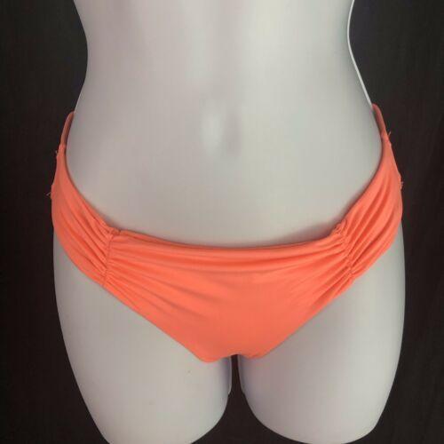 L Space Monique Side Back Ruched Bikini Full Cut Hot Neon Pink Womens M Medium