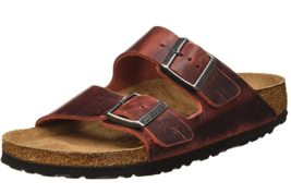 Birkenstock ARIZONA Earth Red Leather Soft Footbed 1015545 Narrow EU 35 - $84.99