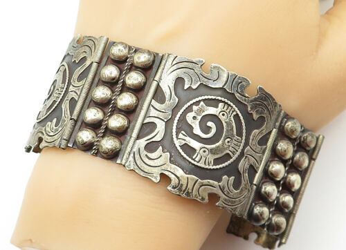 Primary image for CF MEXICO 925 Silver - Vintage Dome Twist Swirl Patterned Chain Bracelet - B6345