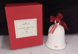 Hallmark Dated 2008 Bell Porcelain Happy Holidays Embossed Tree Collector Box - $19.38