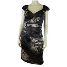 Sangria Dress 10 Brown Black Gold Animal Print Stretch Bodycon PolySpand... - $48.51