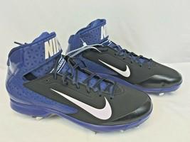 NIKE-Men's Huarache Pro Mid Metal Blue Baseball Cleats 599235-014 Size US 13 New - $28.49