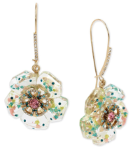 Nwt $58 Betsey Johnson Gold Flower Drop Earrings - $49.99