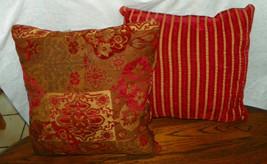 Pair of Burgundy Gold Abstract Stripe Print Throw Pillows  17 x 17 - $49.95