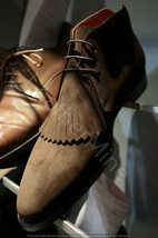 New Handmade Brown Suede frill Chukka boots Custom Dress boots for men - $199.73