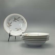 noritake 5693 soup bowl Lot Of 4  cereal bowl salad bowl gold leaves - $19.79
