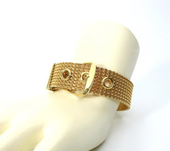 Mesh Buckle Bracelet, Gold Tone, Avon, 1970's, Adjustable, Signed Collectible, D image 3