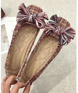 Pink Bow Tie Ballet Flats Slippers Shoes Soft Casual Shoe Wedding Flat - $39.00