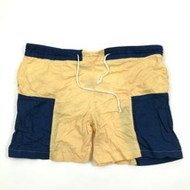VINTAGE Island Image Yellow Trunks Cotton Swim Shorts Nylon Lined Color ... - $17.83