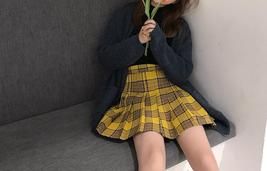 Women Girl YELLOW Pleated Plaid Skirt Plus Size School Style Pleated Plaid Skirt image 2