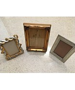 Lot Of 3 Assorted Picture Frames - Silver Metal/Silver & Gold Wood/Gold ... - $9.50