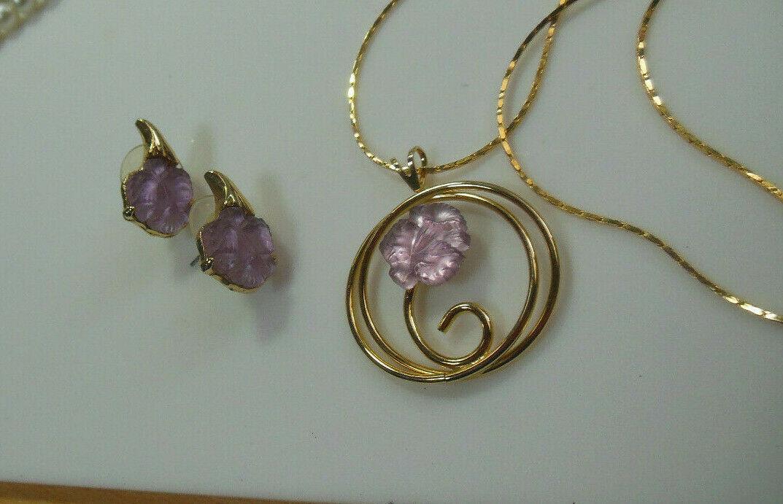 Gold-tone Purple Floral Lucite Pendant Necklace & Earrings