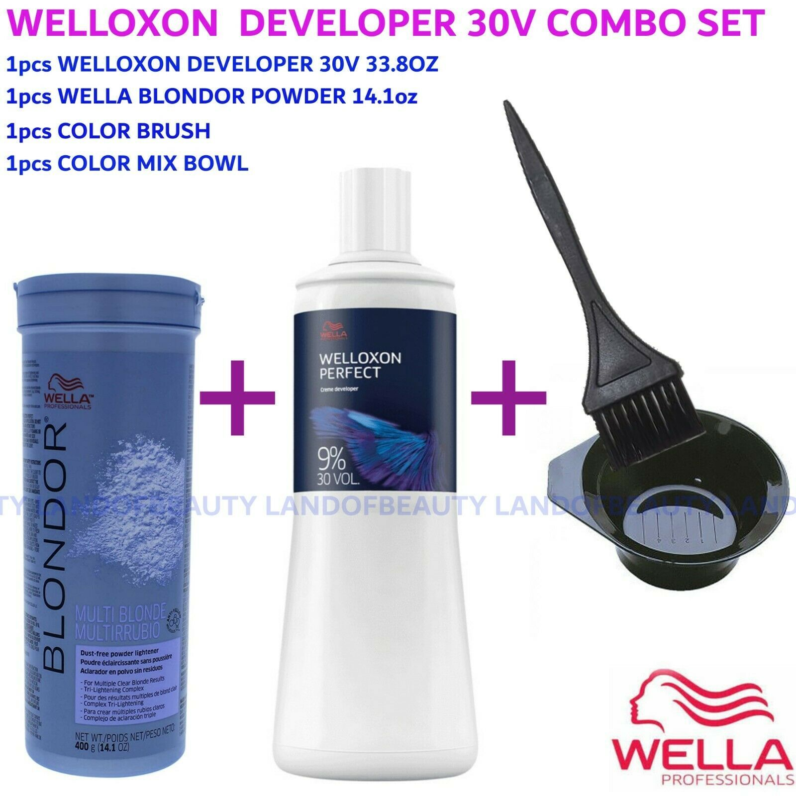 WELLA BLONDOR MULTI BLONDE POWDER 14.1oz+30V DEVELPER 33.8OZ+COLOR BRUSH+BOWL - $42.99