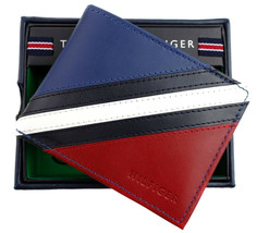 Tommy Hilfiger Men's Leather Wallet Passcase Billfold Red Navy 31TL22X051 image 2