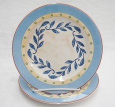 PTS Interiors Sanibel 2 Salad Plates SA-BL-A Blue Rim Coral Band Vine in... - $14.84