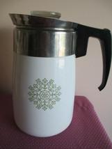 CORNING WARE 6 CUP PERCOLATOR COFFEE POT, AVOCADO MEDALLION - $29.69
