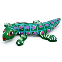 """Handmade Alebrije Oaxacan Wood Carving Painted Folk Art Alligator 3.25"""" Figurine"""