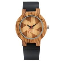 Vintage Irregular Geometric Pattern Display Men's Wood Watch Women   Reloj Hombr - $37.66