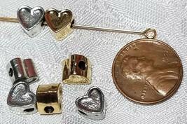 HEART HORIZONTAL HOLE FINE PEWTER BEAD - 7x8x5.5mm; Hole 2mm image 2