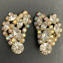 Aurora Borealis AB Clear Rhinestone Crawler Clip On Earrings Vintage Glass - $34.60