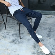 Men fashion simple casual pants Elastic trousers Upon nine pants - $40.80