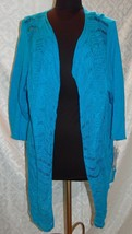 Peter Nygard Womens 2X Teal Turquoise Open Front Cardigan Sweater Hi Lo ... - $43.41