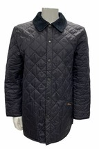 Original Barbour Liddesdale Quilted Jacket Coat Navy Snap Front Mens Small - $62.55