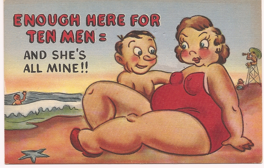 "Mid-Century Comic Post Card ""Enough Here For Ten Men"" - Unused & Uncirculated!"