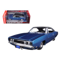 Custom 1969 Dodge Charger 500 Blue Poly 1/24 Diecast Model Car by Autowo... - $63.48