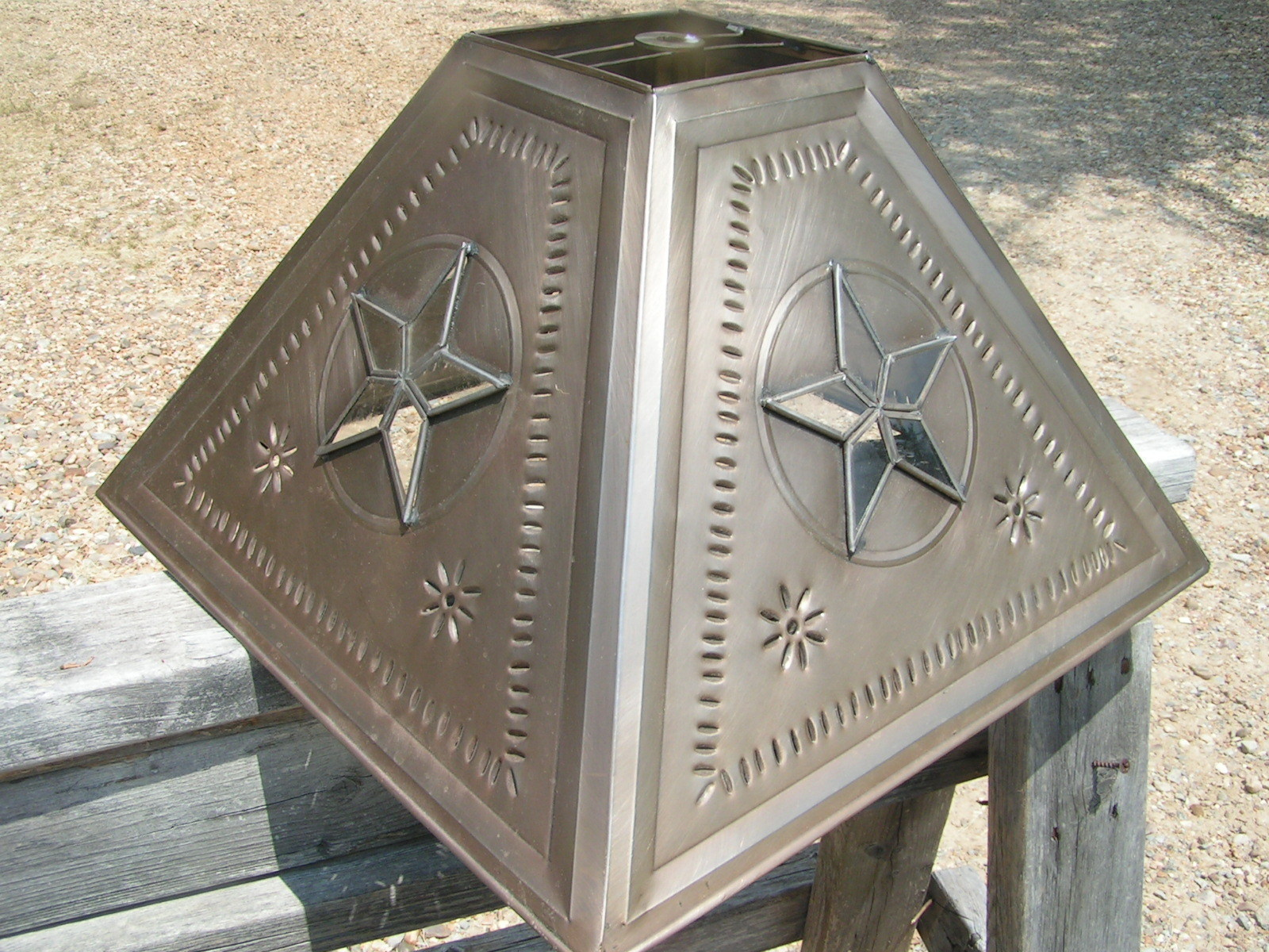 Metal tin punch lampshade western glass star and 34 similar items metal tin punch lampshade western glass star lamp shade extra large bz 1003 aloadofball Image collections