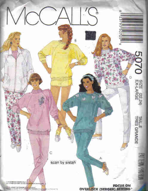 McCall's 5070 Pattern  XL 22 24 Jacket Pants Shorts Top  McCall's