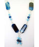 Blue Strip Agate with Lampwork Beads Sterling Silver Necklace 925 Artist... - $137.07