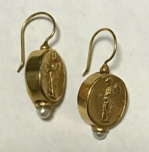VINTAGE 22K Gold Plated Cherub Angel Earrings with Pearls Signed JADED - $39.59