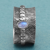925 Sterling Silver Oval Moonstone Meditation Spinner Fidget Ring Size US-5 - $24.23