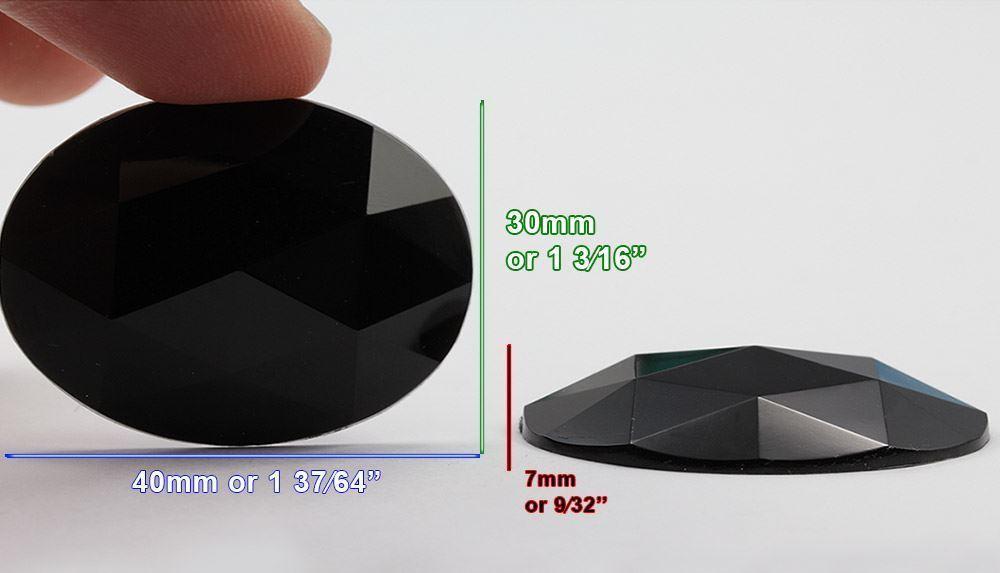 40x30mm Pink Fuchsia .NAT01 Flat Back Oval Acrylic Gemstones 4 PCS