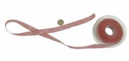 Gingham Check Red White Ribbon 10mm 3 Lengths - $4.85+