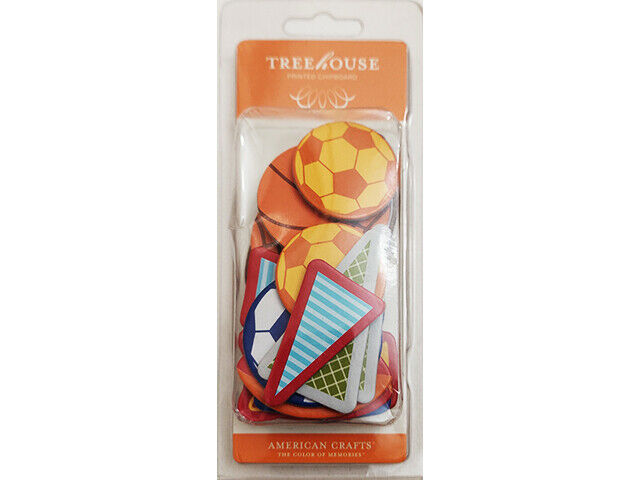 American Crafts Treehouse Printed Chipboard Junior Shapes, Sports #77223