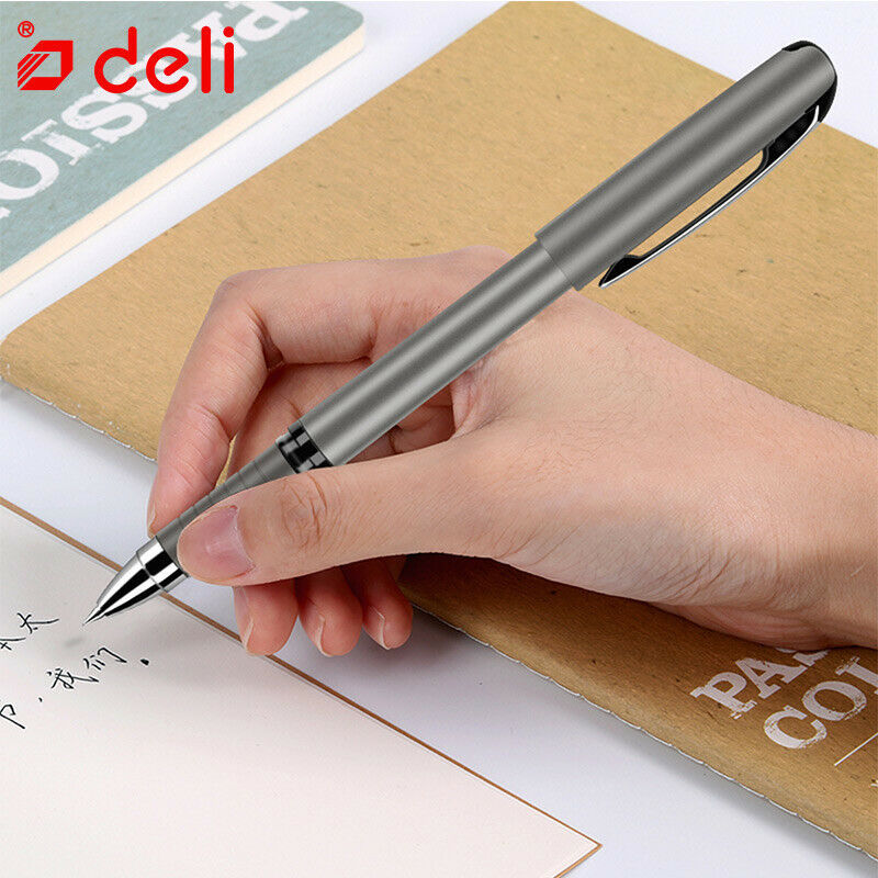 Deli® Pens Brand 0.7mm 12pcs GelPen Black Ink Smooth Writing Pen Imitation Metal