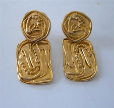 Vintage 80's Norma Jean Earrings Modernist Gold Drop Dangle Organic Clips - $22.76